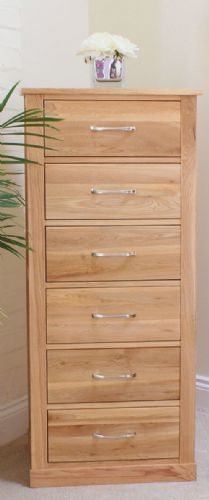 Mobel Oak 6 Drawer Tallboy